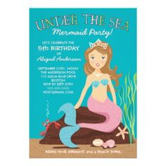 Under the Sea Mermaid Birthday Party Invitation #babyshowerideas4u #birthdayparty  #babyshowerdecorations  #bridalshower  #bridalshowerideas #babyshowergames #bridalshowergame  #bridalshowerfavors  #bridalshowercakes  #babyshowerfavors  #babyshowercakes