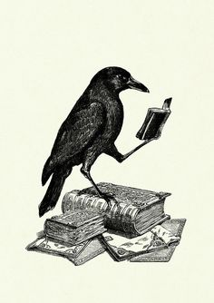 Halloween Raven Crow reading a Book Victorian by emporiumshop