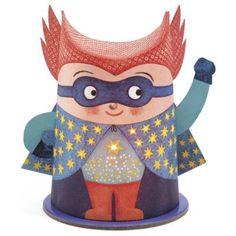 Mini lámpás, Superhős (Djeco, 3436, gyerekszoba kiegészítő, 3-99 év)