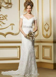 Etui-Linie V-Ausschnitt Sweep/Pinsel zug Charmeuse Spitze Brautkleid mit Schleifenbänder/Stoffgürtel Perlen verziert (0025056629) - Vbridal