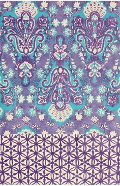 Rugs USA - Plymouth Manami Damask Multi Rug - Global vibe rug with purple, turquoise, and white - Moroccan / Indian motif