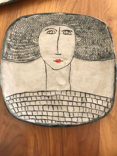 Ceramic woman portrait plate Hand made by Rachel