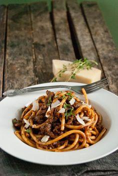 Bucatini with Mushroom Ragu