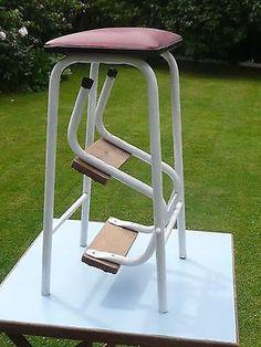 Step/Stool, Folding Vintage  in Metal & Wood plus seat