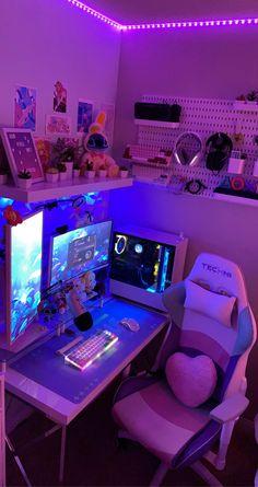 Bedroom Setup, Room Design Bedroom, Room Ideas Bedroom, Gamer Setup, Gaming Room Setup, Pc Setup, Cute Room Ideas, Cute Room Decor, Computer Gaming Room