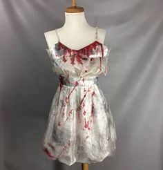 $92.00 Zombie Homecoming Queen Costume. Short Zombie Prom Dress. Bloody Vampire Dress. Bloody Bite Mark. Zombified Halloween Costume. womens size L