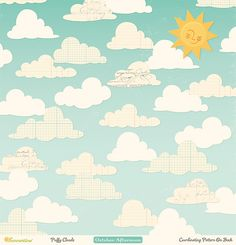 "Product # PP-1454 October Afternoon Summertime | ""Puffy Clouds"" 12x12 patterned…"