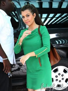 Kourtney Kardashian – Max Fowles dress, Christian Louboutin shoes and Celine bag