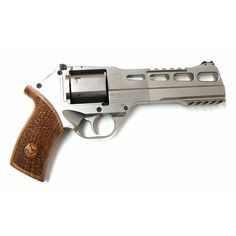 The Chiappa Firearms White Rhino 60DS revolver has a patented design, aligning the barrel with the bottom-most chamber to tame recoil and muzzle flip.