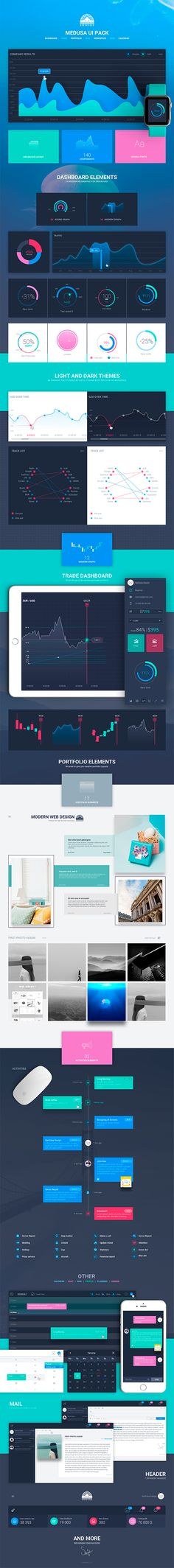 Buy Medusa UI Kit by SanFutur on ThemeForest. Medusa UI Kit for Dashboard This big Ui Kit is designed to help you in building new, modern layouts. This Kit contai. Graphisches Design, Graph Design, Chart Design, Data Dashboard, Dashboard Design, Ui Kit, Infographic Software, Infographics, User Experience Design