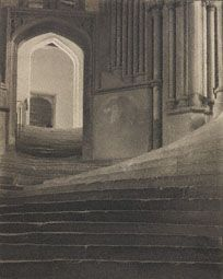 "The Gloucester Cathedral pin reminded me of a beautiful show at the Getty last year: ""A Record of Emotion: The Photographs of Frederick H. Evans."" This image is Evans' ""A Sea of Steps"" taken at the Wells Cathedral in 1903."
