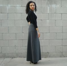 ON SALE Maxi Skirt with Foldover Waistband by lanationclothing, $28.00