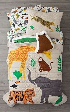 Shop Applique Jungle Animal Bedding.  Our Applique Jungle Animal Bedding will give any kids room a wild style upgrade.