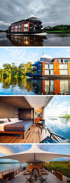 This Floating Hotel Is Styling Up The Amazon // Travel company Aqua Expeditions collaborated with Peruvian architect Jordi Puig, to create the Aria Amazon, a 5 star river cruise ship.