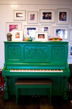 Painted pianos- they are a fun way to brighten up a room! The thing that got me into all this painting of furniture was turning an old thrift store piano into a show piece in my living room.