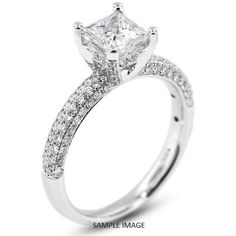 18k White Gold Four-Diamonds Row Engagement Ring with 1.72 Total Carat G-SI1 Princess Diamond