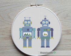cross stitch pattern robot modern cross stitch PDF by Happinesst
