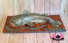 Catfish!  A Sweet Catch! - Cake by Cakes ROCK!!!  Austin, Texas.  Catfish birthday cake on a fondant dock.