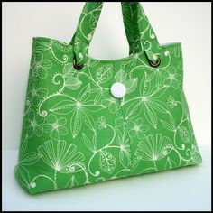 Purse Handbag Mint Green Cotton with White by JHFabricCreations