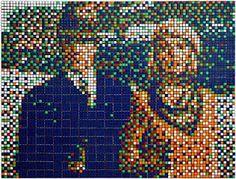 Space Invader: compone todo tipo de retratos, portadas de discos y otras cosas utilizando cubos de Rubik.