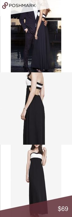 Express Open Back Color Block Maxi Dress Color blocking, a wide open back and flowing maxi-length skirt give this dress dramatic presence worthy of a silver screen starlet.  Sleeveless with elasticized sweetheart neckline Color blocked bandeau top Open back Lined maxi length skirt Bodice: Rayon/Nylon/Spandex; Skirt: Polyester Hand wash cold separately Imported Express Dresses Maxi
