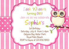 Little Owl Birthday Invitation - Pink Girl Owl Theme Party Custom Printable Invite