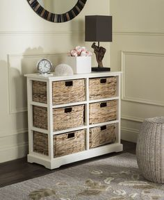 Keenan 6 Wicker Basket Storage Chest AMH5740B Description : This charming six-basket storage chest complements both urban and rural settings with a rugged distressed white finish on pine wood. Ideal i