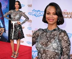 """Zoe Saldana opted for a dress with a sheer bodice at the premiere of Marvel's """"Guardians of the Galaxy"""" in Los Angeles on July 21, 2014. Though the dress was a bold choice, Zoe kept her look polished with classic hair and makeup."""
