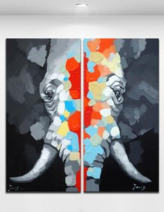 Abstract Colorful Elephant - Handmade Oil Painting On Canvas Cartoon Animal Wall Art 2 Panles Unframed Home Decoration Size 16*32