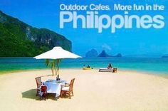Outdoor cafes made more fun n the Philippines. Bahamas Island, Island Beach, Beaches In The World, Places Around The World, Most Beautiful Beaches, Beautiful Places, Zanzibar Beaches, Les Philippines, Tourism Department