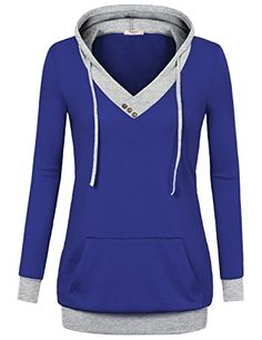 9e7600a92a4ad Timeson Womens VNeck Long Sleeve Pullover Hoodies with Kangaroo Pocket  XXXLarge Royal Blue   Read more
