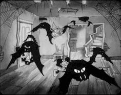 "gameraboy: "" The Haunted House "" Halloween Gif, Vintage Halloween, Halloween Night, Cartoon Gifs, Cartoon Images, Dark Disney Art, Dark Green Aesthetic, Alien Art, Vintage Cartoon"