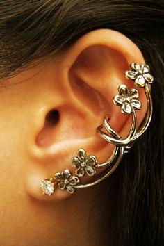Floral Ear Piercing Cartilage Cuff Bronze Earrings