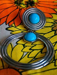 Large Dangle Loop Silver Tone Earrings by VintageUnderTheSun High End Fashion, 80s Fashion, 50 Off Sale, Fashion Boutique, Dangles, Turquoise, Winter, Earrings, Etsy