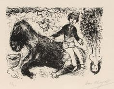 """Limited Edition Print """" Le Garcon Au Cheval (Boy With Horse) 1/30 1970"""" by Marc Chagall"""