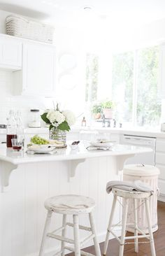 Beautiful and tasty food vignette in a dreamy white kitchen.