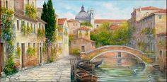 Romantic Venetian Bridge Painting by Antonietta Varallo