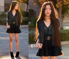Oasap Gold Collar Necklace, Oasap Jasper Knit Top, Vivilli Faux Leather Motorcycle Vest, Romwe Black Skater Skirt | LOKI INSPIRED (by Jennifer W) | LOOKBOOK.nu