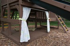 outdoor playset with floor and curtains (made from sheets) - like the multiple levels
