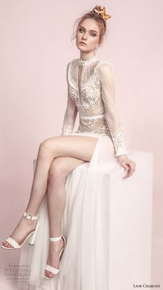 lior charchy spring 2017 bridal long sleeves high neck keyhole heavily embellished tulle skirt side slit bohemian a line wedding dress sweep train (11) zv -- Lior Charchy Spring 2017 Wedding Dresses #weddingdress