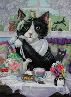 """Kitten with Tea and Cake Chocolate"" by Joy Campbell"