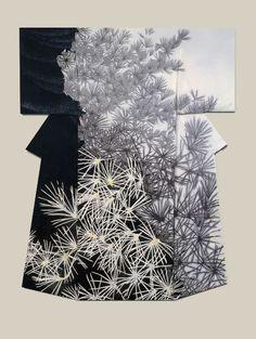 "thekimonogallery: ""Shoin"", a kimono created by artist Yuri Keiko. Jury Prize winner at the (Institute ) Japan Dyers Association Source by ibergere Traditioneller Kimono, Kimono Noir, Mode Kimono, Kimono Fabric, White Kimono, Japanese Textiles, Japanese Patterns, Japanese Design, Japanese Art"