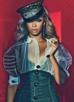 Beyoncé wears Louis Vuitton's silk top, cashmere shorts, hat, and mask; Givenchy by Riccardo Tisci's silk satin bra.