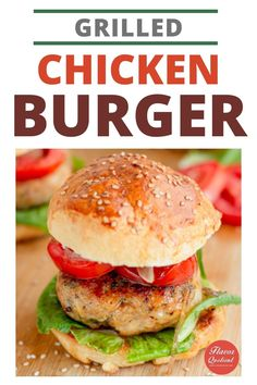 Juicy grilled chicken pattie stuffed inside homemade hamburger buns! This is the best chicken burger you can make at home! Easy chicken burger recipe with tons of flavors!   chicken burger recipe   grilled chicken burger   homemade chicken burger   healthy chicken burger   hamburger recipe   greek chicken burger   bbq chicken burger   #chickenburger #burgerrecipe #hamburgerrecipe #grilledchickenburger #burgerrecipe
