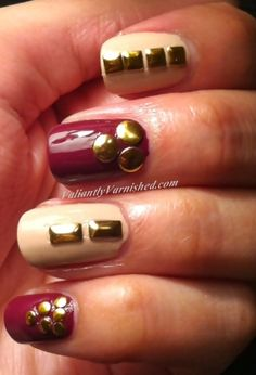 Valiantly Varnished: Purple and Nude Skittle with Studs and Born Pretty Store Review