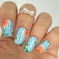Flower stripe nails for spring by mllrdesign