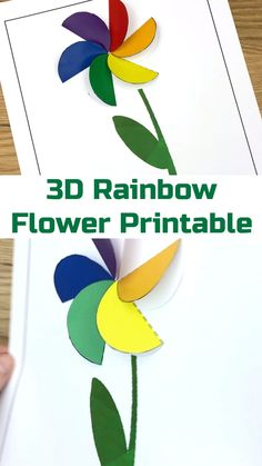 These fun rainbow flowers are super easy for kids of all ages. The template makes it easy to turn this into a classroom Classroom Crafts, Preschool Crafts, Toddler Crafts, Kid Crafts, Easy Art Projects, Projects For Kids, Crafts For Kids To Make, Art For Kids, Paper Craft For Kids