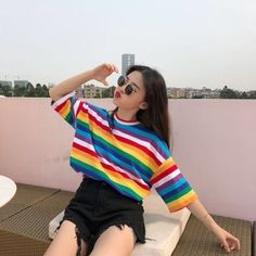 Size Chart: Size-------Bust----------Shoulder---------Length Women Rainbow Striped Tops Summer Short Sleeve Korean Punk T-shirt Description Gender : Women Item Type : Tops Tops Type : Tees Material : Spandex,COTTON Style : Punk Style Fabric Type : Broadc Korean Fashion Trends, Asian Fashion, Girl Fashion, Female Fashion, Fashion Women, Fashion 2018, Ulzzang Fashion, Ulzzang Girl, Ulzzang Style