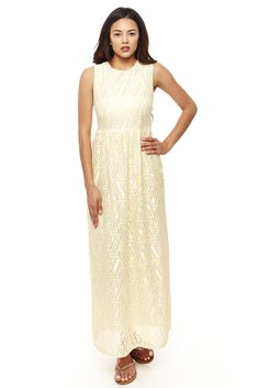 Crotchet Sleeveless Maxi Dress Yellow Coral Green/Mint White #LittleQueen #Maxi