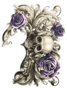Temporary tattoo - Large Back Chest Tattoo - Skull-Bone-Rose-Women-Men-Body-Art- Shoulder, Neck, Arm Stickers for Men and Women fake tattoos